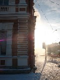 Сброс снега в солнечных лучах